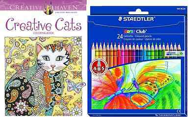 Creative Haven Creative Cats Coloring Pack - 24 Pencils - 9780486789644 JF