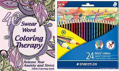 Swear Word Coloring Therapy book pack Colouring book and colouring pencil pack
