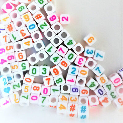 100pcs cube white + colourful numbers & hearts, #  acrylic beads 6mm
