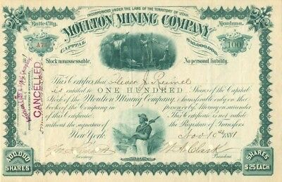Moulton Mining Company signed by W.A. Clark