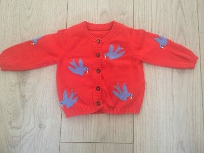 Baby Girls Red Cardigan Cardi With Blue Birds Age 0-3 Mths