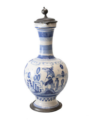 18th Century Pewter mounted Continental Faience Ewer Jug blue and white