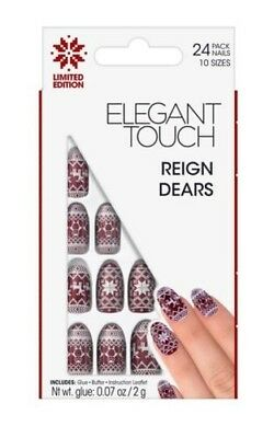 Elegant Touch Faux Ongles - Reign Dears Bordeaux & Blanc Ongles (24 Ongles)