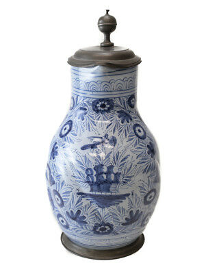 18th century Pewter-mounted Continental Faience Jug, painted blue and light blue