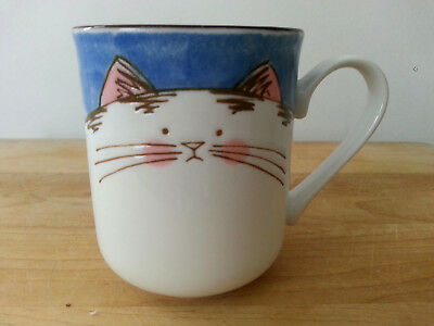 Vtg Takahashi Japan charming  CAT Mug Cup Hand Painted blue/pink/white