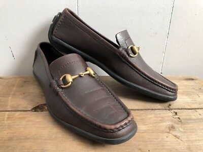 fd9335e424b Women s Gucci Brown Leather Gold Horsebit Loafer Driving Flat Shoes Size 8.5