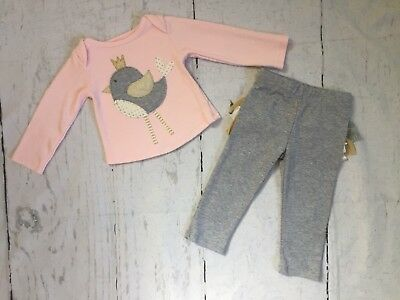 Baby Infant Girls 6-9M Mud Pie Long Sleeve Pink Gray Bird Ruffle Pants Outfit