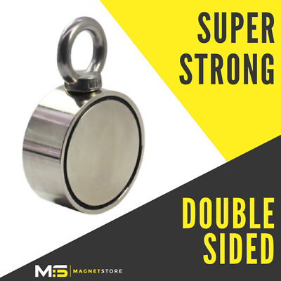 75mm Double Sided Fishing Magnet Pull 400kg / 800lbs Recovery Strong Treasure