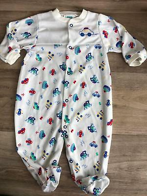 Vintage little me boys cars footed pjs sleeper play sleep coverall Size 9 months