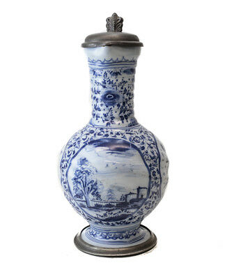 18th century Pewter mounted Continental Faience Jug, painted blue and white