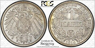 Germany 1914-A 1 Mark, PCGS MS67, superb quality from an original roll
