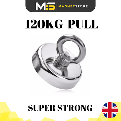 Super Strong Neodymium Recovery Fishing Magnet 60mm 120kg / 264bs Pull Eyebolt