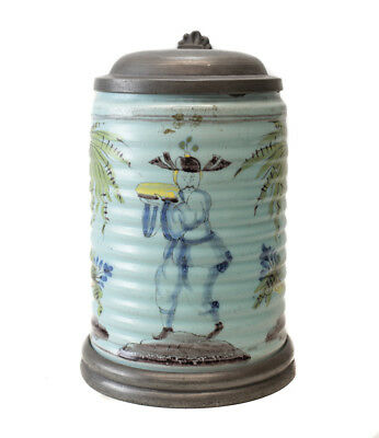 18th Century Pewter mounted German? Faience Tankard, columnar form,  polychrome