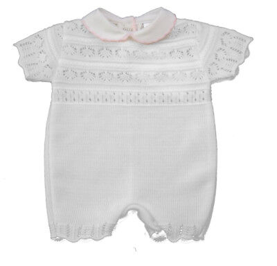 285b40244 BABY GIRL WHITE Pink Knitted Romper Traditional Spanish Style Outfit ...