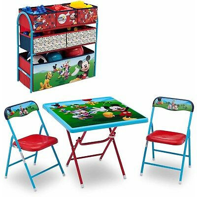 Disney Mickey Mouse Kids Table And Chair Multi-bin Toy Organizer Playroom Set