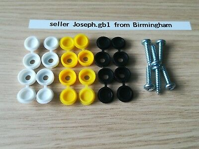 X 12 Number Plate Cap Fitting Fixing Black Yellow White PLUS 6 screw.