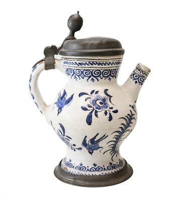 18th century Pewter-mounted Dutch? Faience spouted jug, painted blue and white