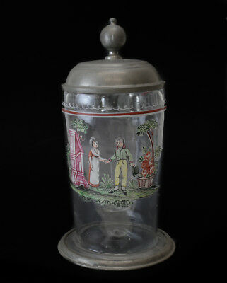 19th century Pewter mounted glass tankard, painted enamel figures courting scene