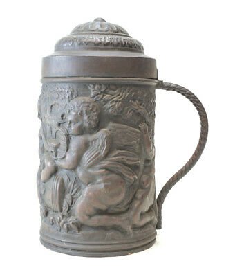 Continental 18th Century Repousse Copper Tankard figures in high relief