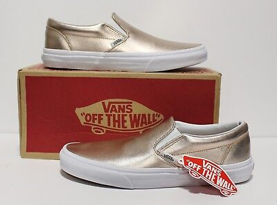 687e91865cd Vans Classic Slip On Metallic Leather Rose Gold Men s Size 7.5 (Women s 9)