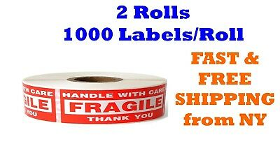 """2 Rolls 2000 Labels 1"""" x 3"""" FRAGILE HANDLE WITH CARE Stickers (1000 Per Roll)"""