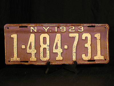 1923 New York License Plate NY 1 484 731 Blue White Man Cave Garage FS