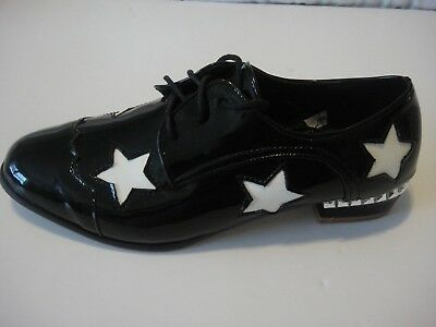 """Ladies Black """"Patent Leather"""" flat BROGUE shoes w/ WHITE STARS,size 39,tap shoes"""