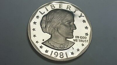 """1981-S Proof Deep Cameo Type 1 Clear 'S"""" Susan B. Anthony Dollar BU"""