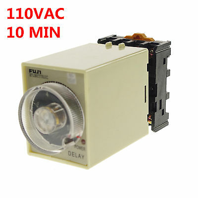 110V  0-10min Power Off Delay Timer Time Relay With PF083A Socket Base