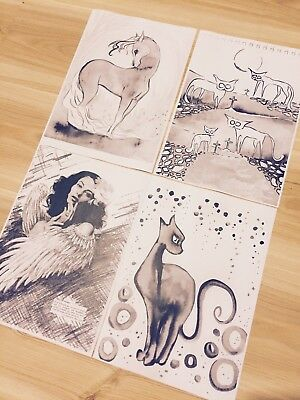 4 Sienna Mayfair Colouring Book Pages - Photocopied Art Animal Angel Free Post