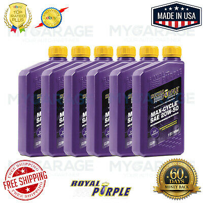 Royal Purple SAE 20W-50 Max-Cycle Motorcycle Oil (6 Qt Bottle) 01316 Pack of 6
