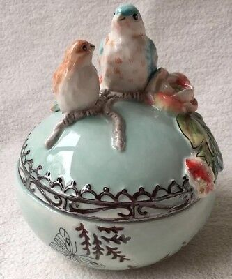 Fitz and Floyd English Garden Treasure Trinket Dish With Lid. Birds Flower Blue