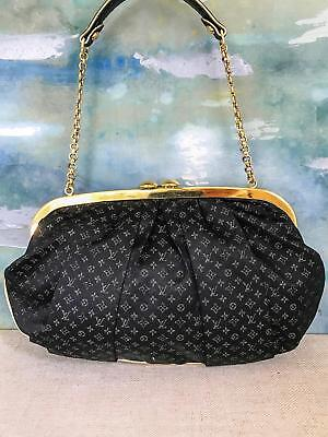 ff8ba05e3450  1630 LOUIS VUITTON Limited Ed Black Monogram Satin Aumoniere Evening Bag  Clutch
