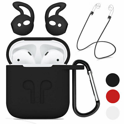 Waterproof Silicone Case Cover Skin Strap & Ear Hook For Apple Airpods Air Pods