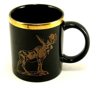 Black and Gold Embossed Moose Animal Coffee Cup Mug