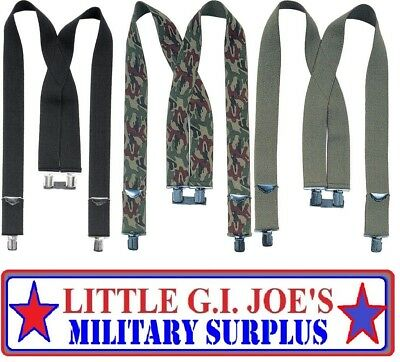 "Heavy Duty 2"" Thick Adjustable Suspenders X-Back Clip Elastic Military Rothco"