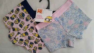 DESPICABLE ME MINIONS Girl 2x Licensed shortie trunks briefs NEW sizes 2-4