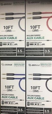 Esoulk Gold Plated AUX Cable 3.5mm / 10feet / Tangle Free, Non Tangle (Black)