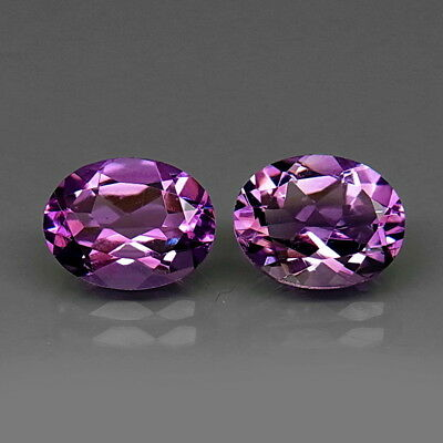 Oval 9x7 mm.PAIR! Real 100%Natural Amethyst Bolivia None Treatment 3.38Ct.