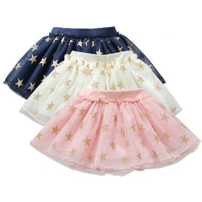 Kids Baby Girls Tutu Skirt Casual Dress Stars Printed Outfit Costume Skirt 1-6Y