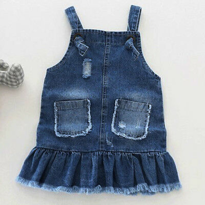 AU Summer Floral Baby Kids Girl Toddler Denim Jeans Overalls Dress Skirt Clothes