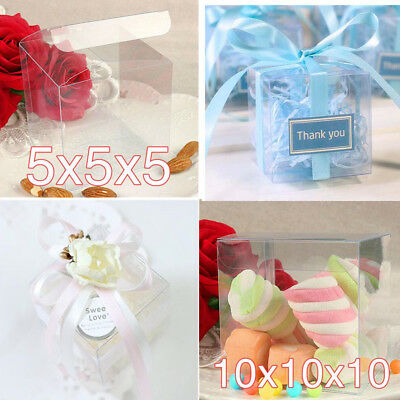 10/200 Reusable Clear PVC Boxes Wedding Party Gift Cupcake Candy Packing Favor