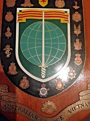 Australia Vietnam war services shield AIF RAAF RAN SAS BRASS ON TIMBER ORIGINAL