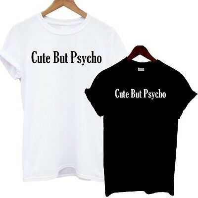 CUTE BUT PSYCHO Ladies Fitted T-Shirt Funny Slogan Viral Fashion Top vlog blog x