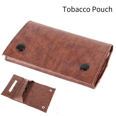 Brown Leather Cigarette Tobacco Pouch Bag Case Rolling Paper Mens Birthday Gift