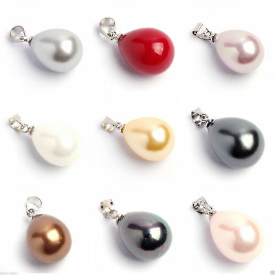 AAA 12x16mm Black White Pink Purple South Sea Shell Pearl Drop Pendant +Necklace