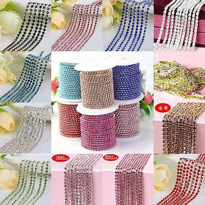 2/2.5/3/4mm Crystal Rhinestone Close Chain Trim Sewing Craft DIY Crystal Chain