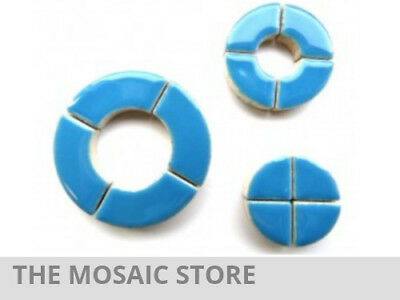 Blue Ceramic Circle Bits - Mosaic Tiles Supplies Art Craft