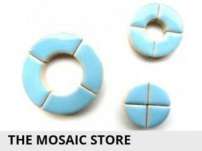 Light Blue Ceramic Circle Bits - Mosaic Tiles Supplies Art Craft