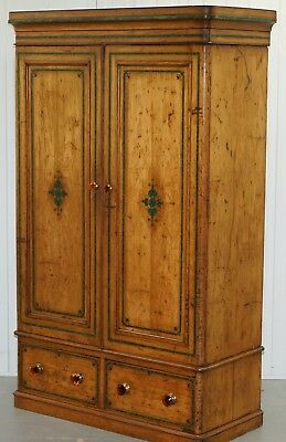 Solid Satinwood Double Bank Edwardian Wardrobe With Hand Painted Green Detail